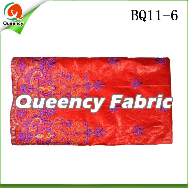 Red Embroidery bazin fabric