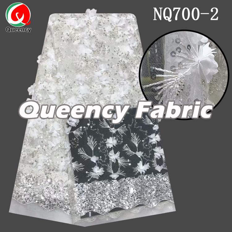 African 3d sequence tulle fabric